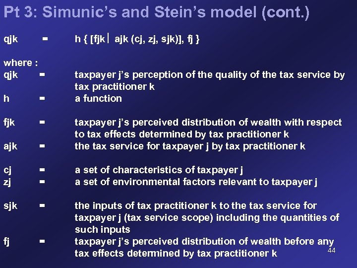 Pt 3: Simunic's and Stein's model (cont. ) qjk = where : qjk =