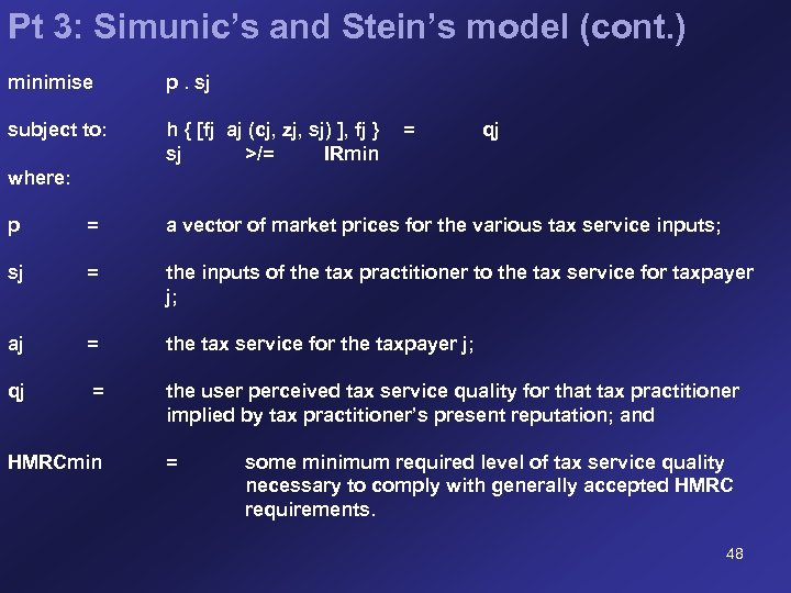 Pt 3: Simunic's and Stein's model (cont. ) minimise p. sj subject to: h