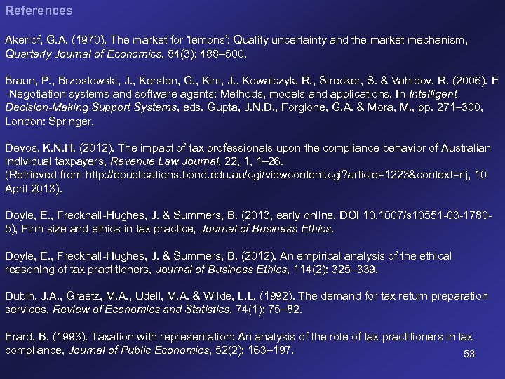 References Akerlof, G. A. (1970). The market for 'lemons': Quality uncertainty and the market