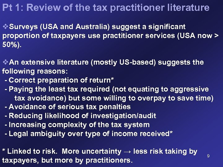 Pt 1: Review of the tax practitioner literature v. Surveys (USA and Australia) suggest