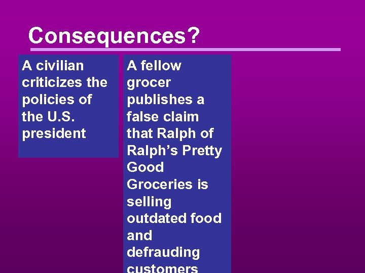 Consequences? A civilian criticizes the policies of the U. S. president A fellow grocer