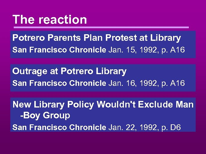 The reaction Potrero Parents Plan Protest at Library San Francisco Chronicle Jan. 15, 1992,