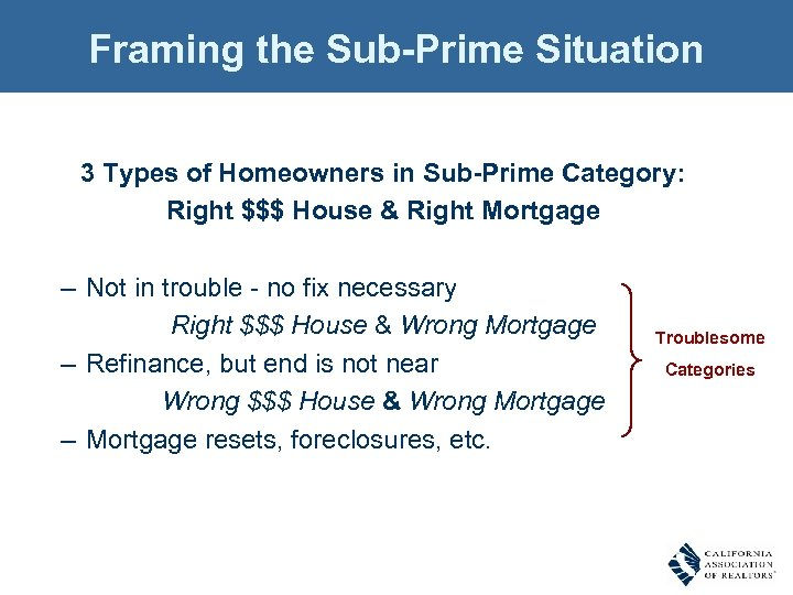 Framing the Sub-Prime Situation 3 Types of Homeowners in Sub-Prime Category: Right $$$ House