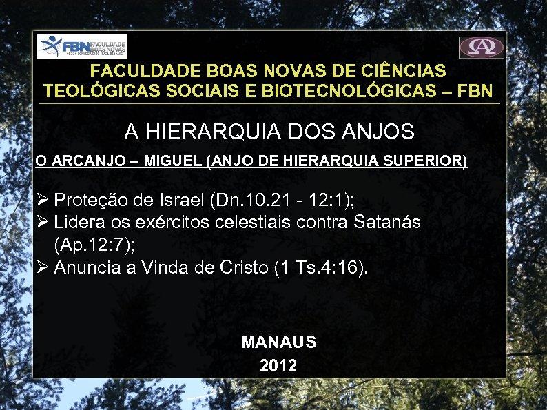 FACULDADE BOAS NOVAS DE CIÊNCIAS TEOLÓGICAS SOCIAIS E BIOTECNOLÓGICAS – FBN A HIERARQUIA DOS