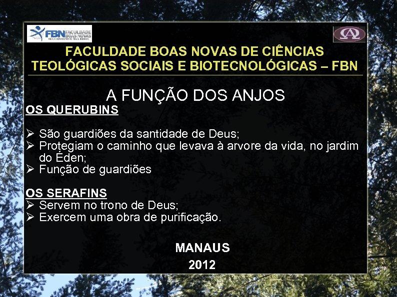 FACULDADE BOAS NOVAS DE CIÊNCIAS TEOLÓGICAS SOCIAIS E BIOTECNOLÓGICAS – FBN A FUNÇÃO DOS