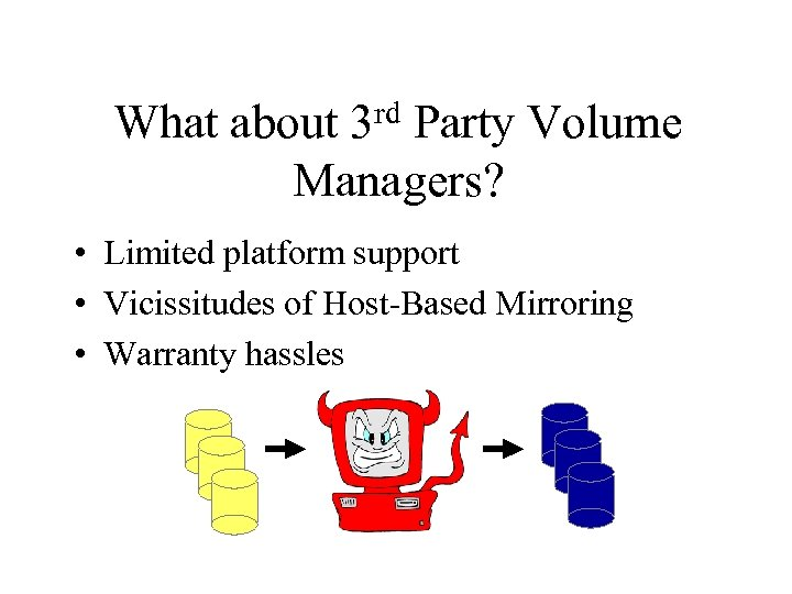 rd 3 What about Party Volume Managers? • Limited platform support • Vicissitudes of