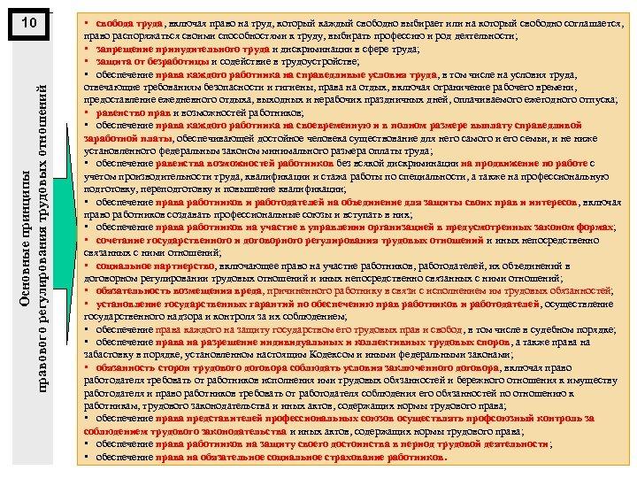 Основные принципы правового регулирования трудовых отношений 10 • свобода труда, включая право на труд,