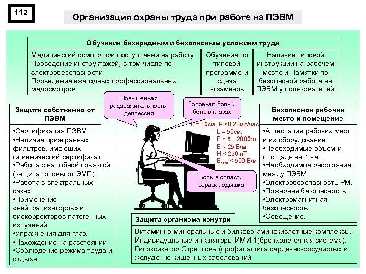 112 Организация охраны труда при работе на ПЭВМ Обучение безвредным и безопасным условиям труда