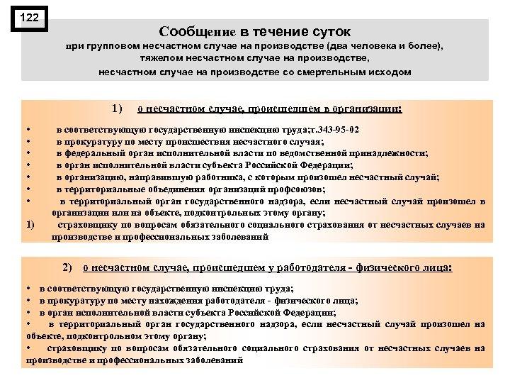 122 Сообщение в течение суток при групповом несчастном случае на производстве (два человека и