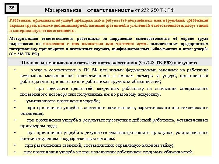 35 Материальная ответственность ст 232 -250 ТК РФ Работники, причинившие ущерб предприятию в результате