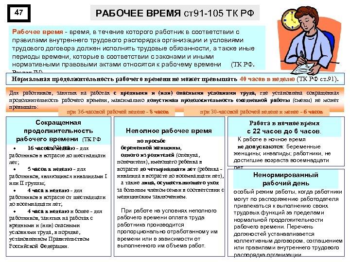 47 РАБОЧЕЕ ВРЕМЯ ст91 -105 ТК РФ Рабочее время - время, в течение которого