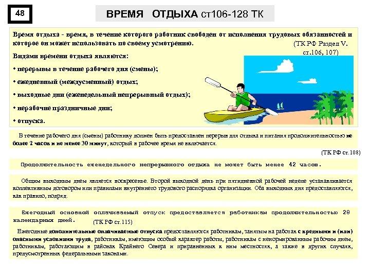48 ВРЕМЯ ОТДЫХА ст106 -128 ТК Время отдыха время, в течение которого работник свободен