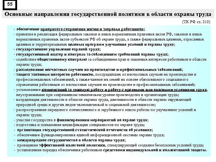 55 Основные направления государственной политики в области охраны труда (ТК РФ ст. 210) -