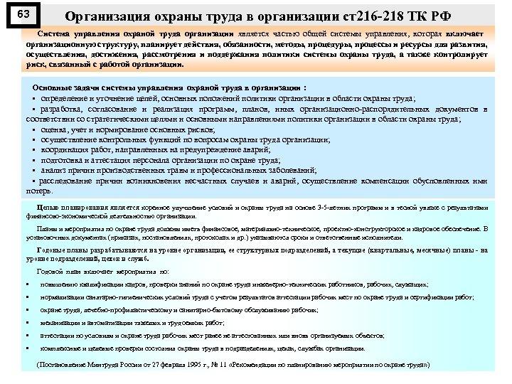 63 Организация охраны труда в организации ст216 218 ТК РФ Система управления охраной труда