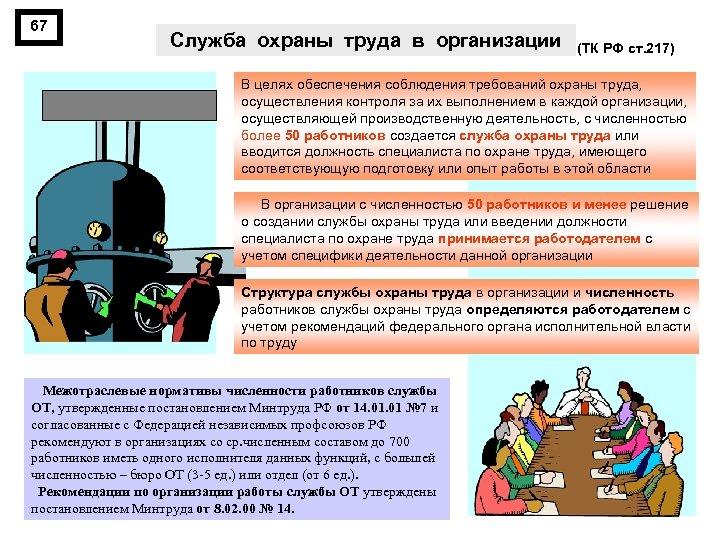 67 Служба охраны труда в организации (ТК РФ ст. 217) В целях обеспечения соблюдения