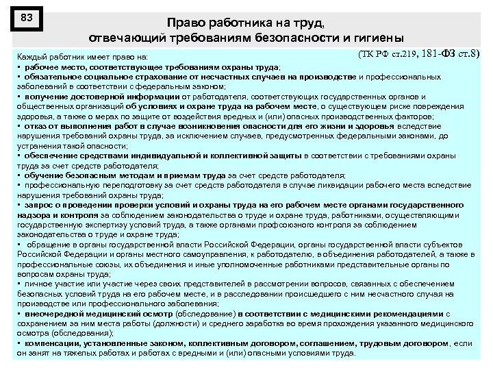 83 Право работника на труд, отвечающий требованиям безопасности и гигиены (ТК РФ ст. 219,