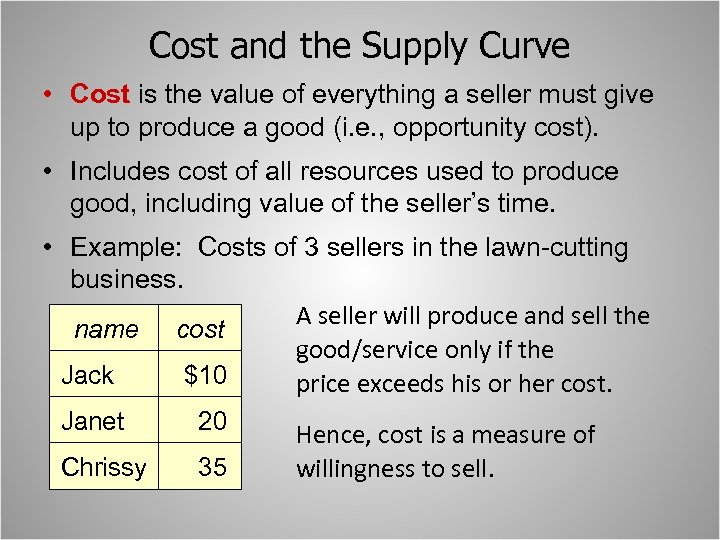 Cost and the Supply Curve • Cost is the value of everything a seller