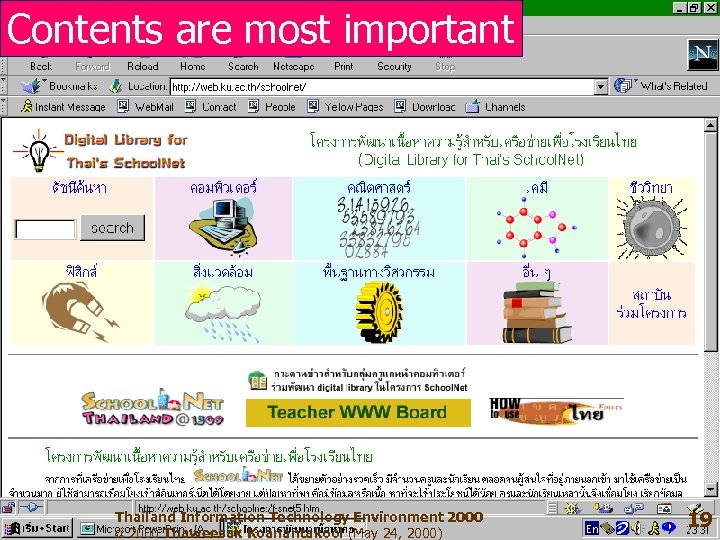 Contents are most important Thailand Information Technology Environment 2000 ฉ 2000 Thaweesak Koanantakool (May