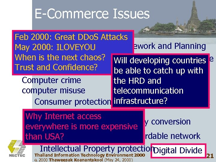 E-Commerce Issues Feb 2000: Great DDo. S Attacks Policy Framework and Planning May 2000: