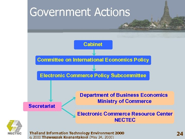 Government Actions Cabinet Committee on International Economics Policy Electronic Commerce Policy Subcommittee Secretariat Department