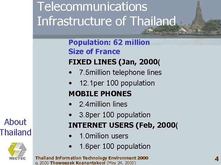 About Thailand Telecommunications Infrastructure of Thailand Population: 62 million Size of France FIXED LINES