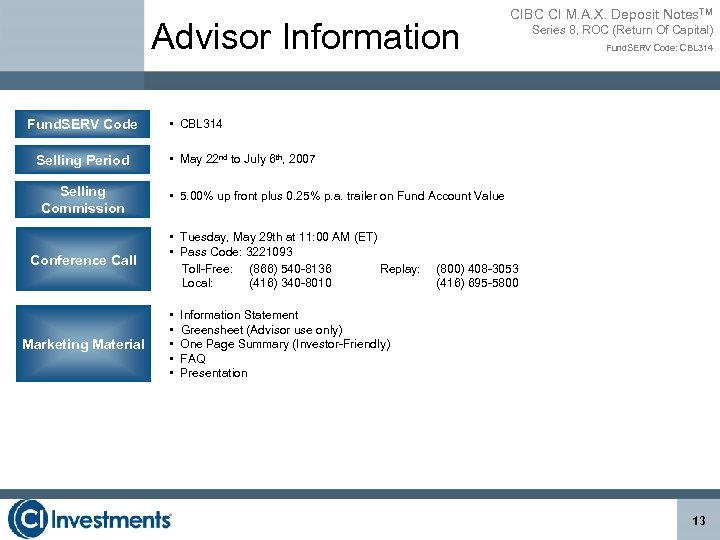 Advisor Information Fund. SERV Code Selling Period Selling Commission Conference Call Marketing Material CIBC