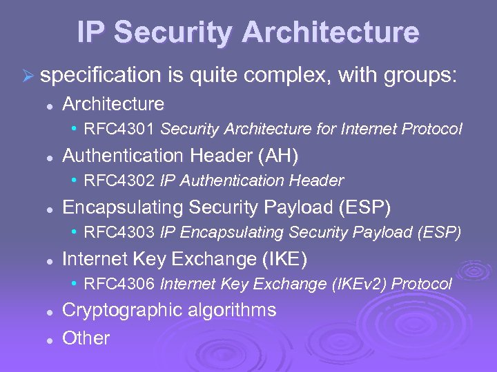 IP Security Architecture Ø specification is quite complex, with groups: l Architecture • RFC