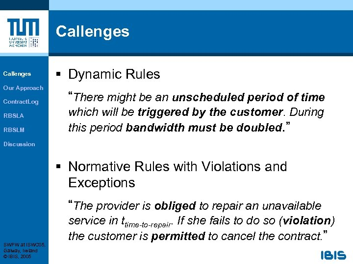 """Callenges Our Approach Contract. Log RBSLA RBSLM § Dynamic Rules """"There might be an"""