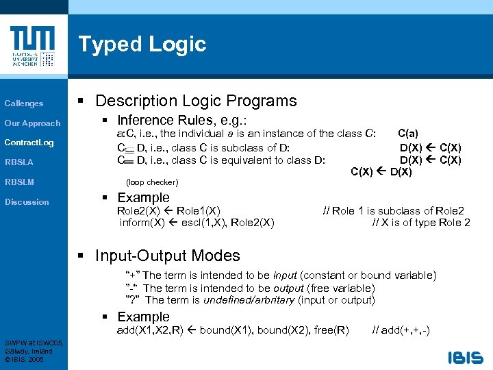 Typed Logic Callenges Our Approach Contract. Log RBSLA RBSLM Discussion § Description Logic Programs