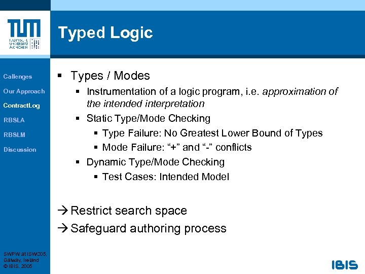 Typed Logic Callenges Our Approach Contract. Log RBSLA RBSLM Discussion § Types / Modes