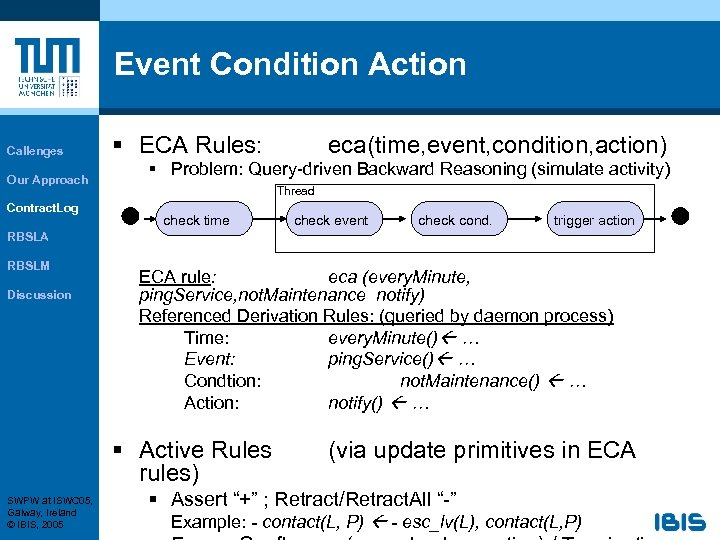 Event Condition Action Callenges Our Approach Contract. Log § ECA Rules: eca(time, event, condition,
