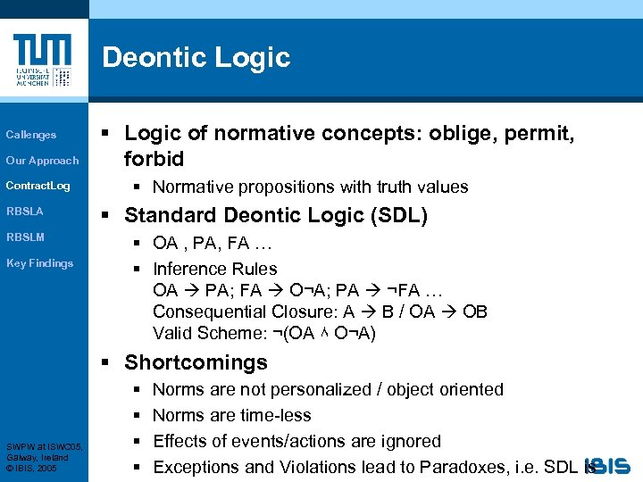 Deontic Logic Callenges Our Approach Contract. Log RBSLA RBSLM Key Findings § Logic of