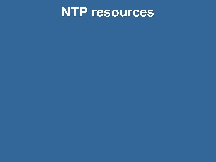 NTP resources