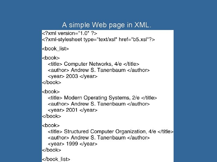A simple Web page in XML.