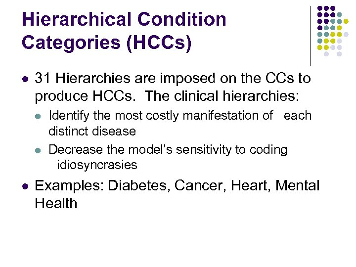 Hierarchical Condition Categories (HCCs) l 31 Hierarchies are imposed on the CCs to produce