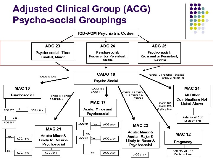 Adjusted Clinical Group (ACG) Psycho-social Groupings ICD-9 -CM Psychiatric Codes ADG 23 ADG 24
