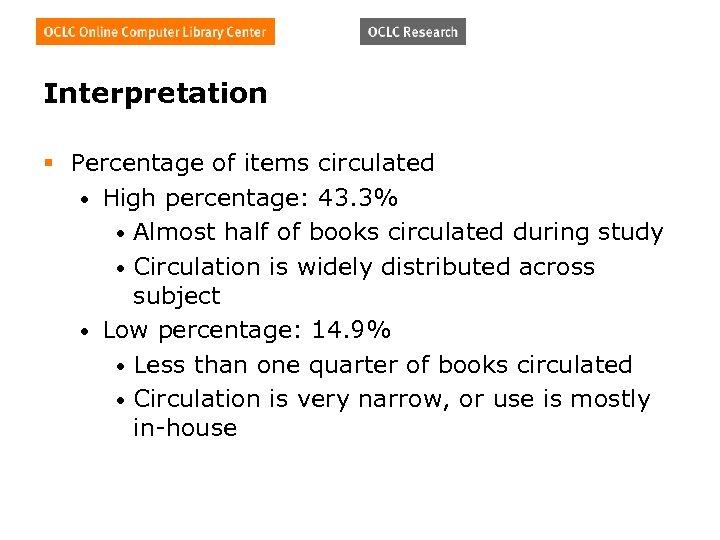 Interpretation § Percentage of items circulated • High percentage: 43. 3% • Almost half