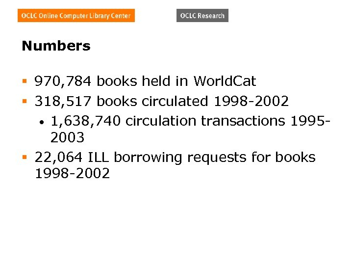 Numbers § 970, 784 books held in World. Cat § 318, 517 books circulated