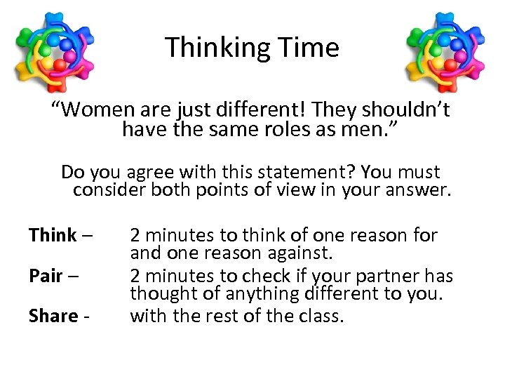"""Thinking Time """"Women are just different! They shouldn't have the same roles as men."""