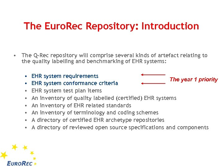 The Euro. Rec Repository: Introduction • The Q-Rec repository will comprise several kinds of
