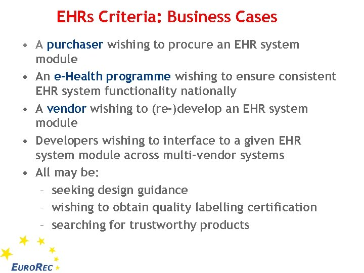 EHRs Criteria: Business Cases • A purchaser wishing to procure an EHR system module