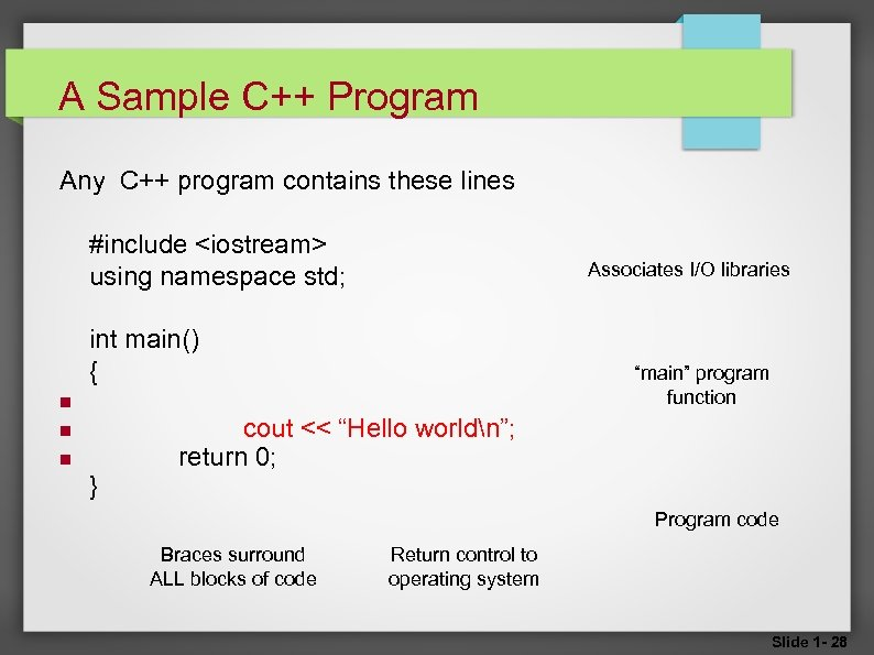 A Sample C++ Program Any C++ program contains these lines #include <iostream> using namespace