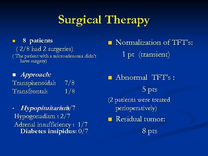 Surgical Therapy n 8 patients ( 2/8 had 2 surgeries) n Normalization of TFT's: