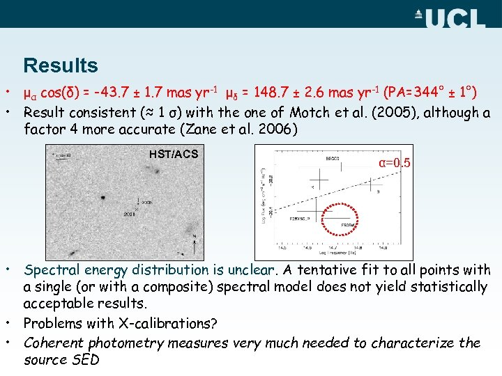 Results • μα cos(δ) = -43. 7 ± 1. 7 mas yr-1 μδ =