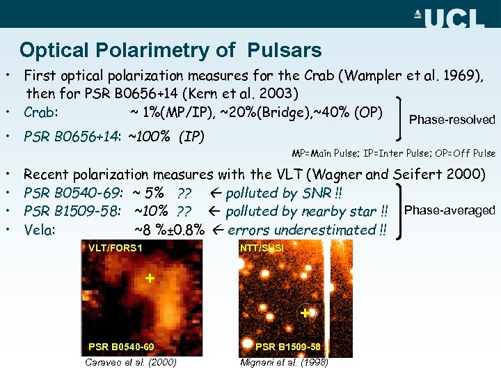 Optical Polarimetry of Pulsars • First optical polarization measures for the Crab (Wampler et