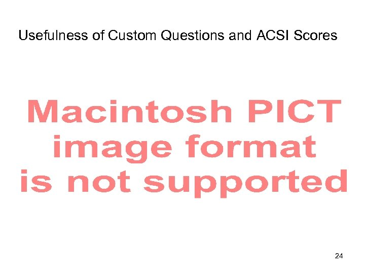 Usefulness of Custom Questions and ACSI Scores 24