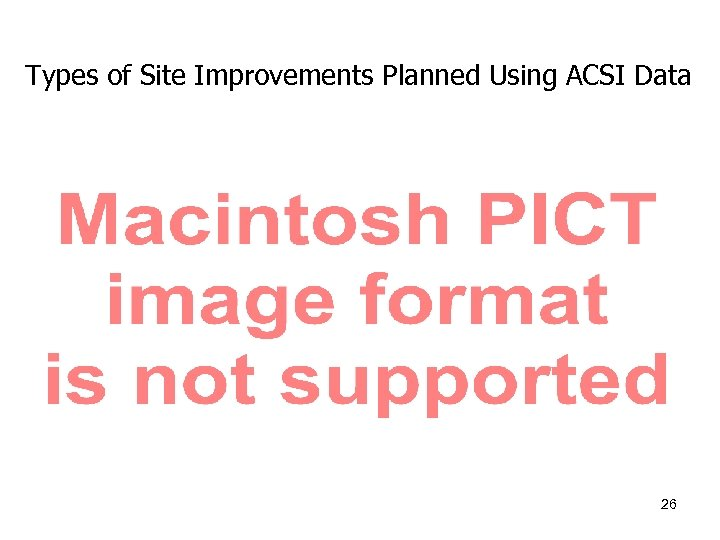 Types of Site Improvements Planned Using ACSI Data 26