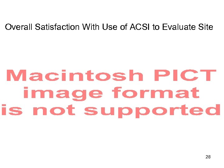 Overall Satisfaction With Use of ACSI to Evaluate Site 28