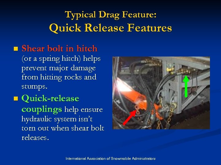 Typical Drag Feature: Quick Release Features n Shear bolt in hitch (or a spring
