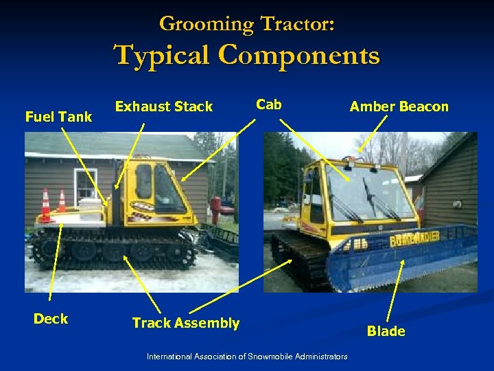 Grooming Tractor: Typical Components Fuel Tank Deck Exhaust Stack Cab Track Assembly International Association